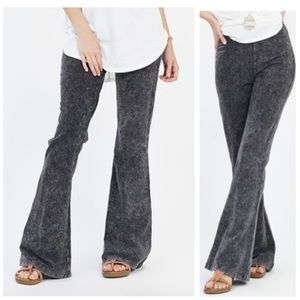 Mineral Wash Flare Leg Fold-Over Pants